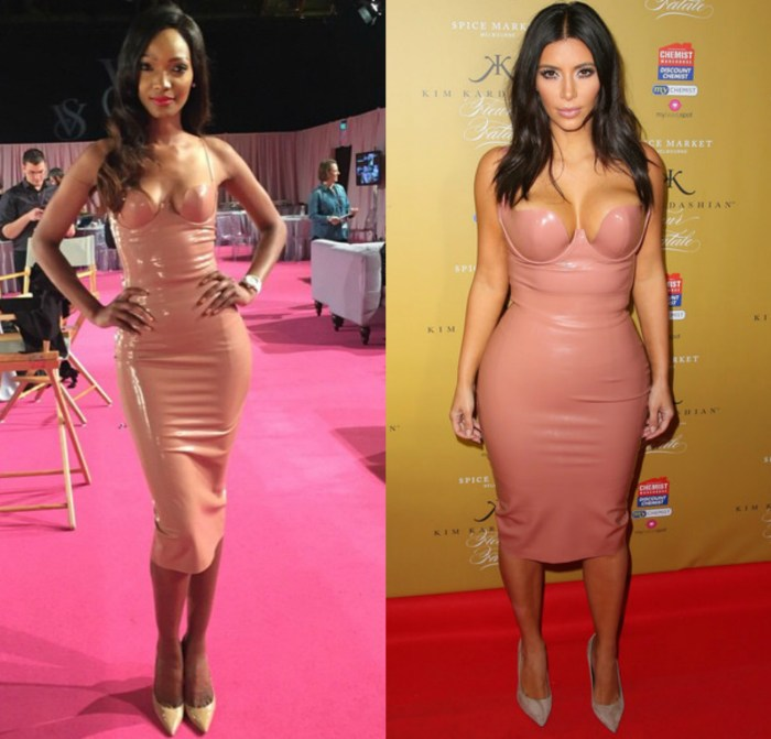 WHO STYLED IT BETTER KIM KARDASIAN OR MILLEN MAGASE IN ATSUKO KUDO NUDE LATEX DRESS