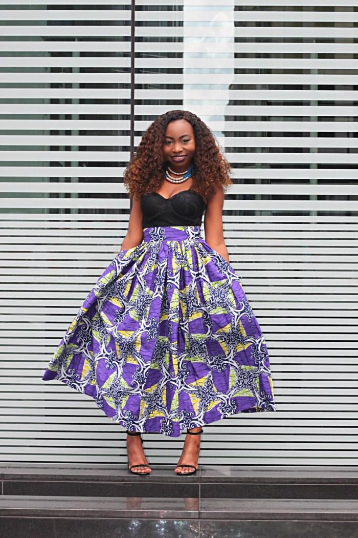 ankara print maxi skirt