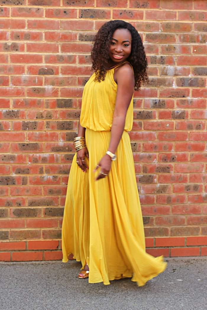 tonge mango yellow maxi dress