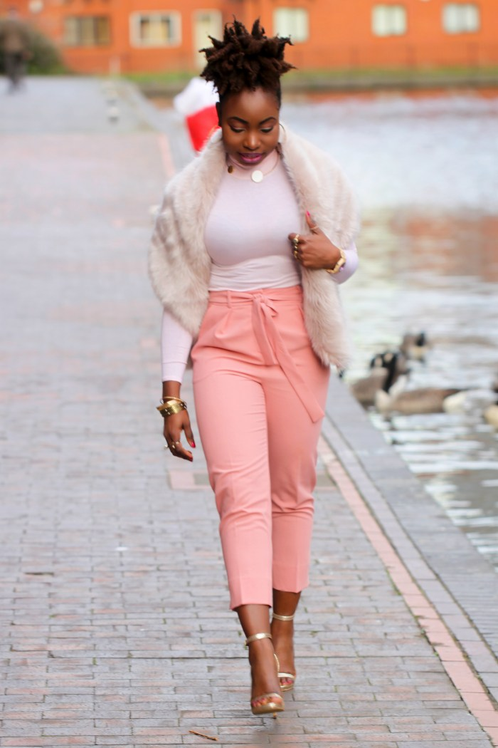 faux fur topshop pink trousers a