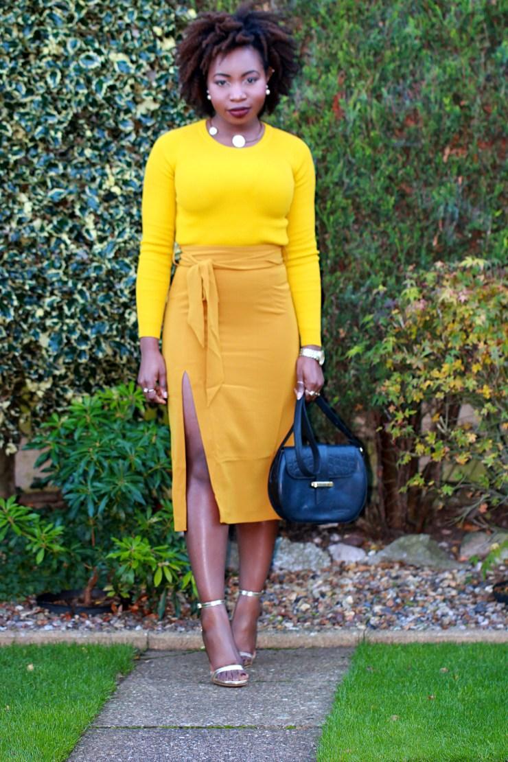 mustard asos belted obi skirt a