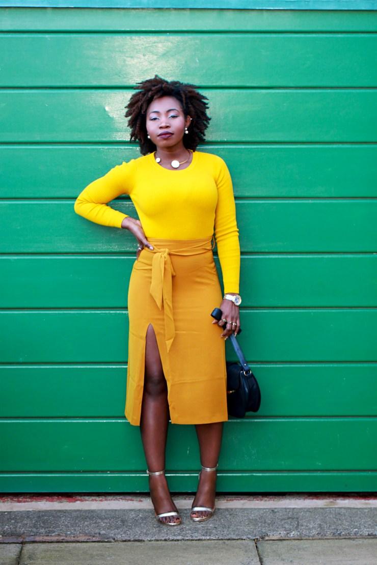 mustard belted skirt a