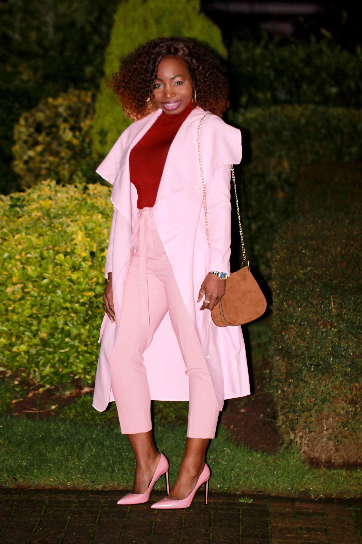 dusty pink outfit saint laurent heels a
