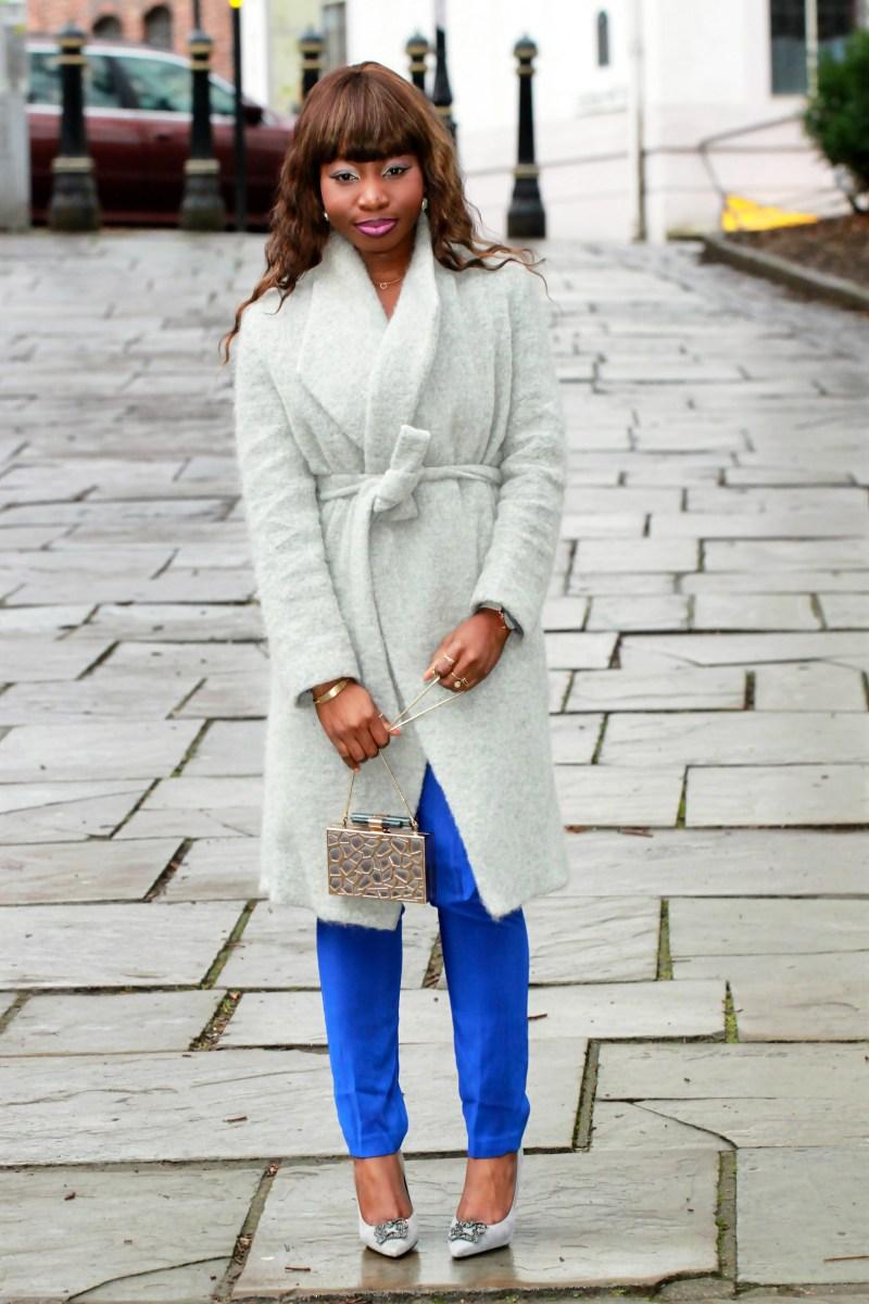 electric blue jumpsuit grey coat a