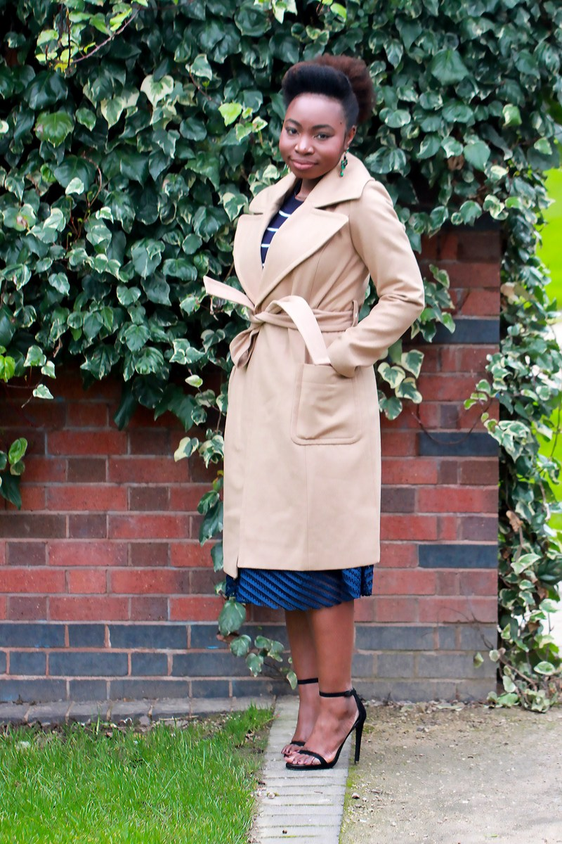 striped jumper nude belted coat