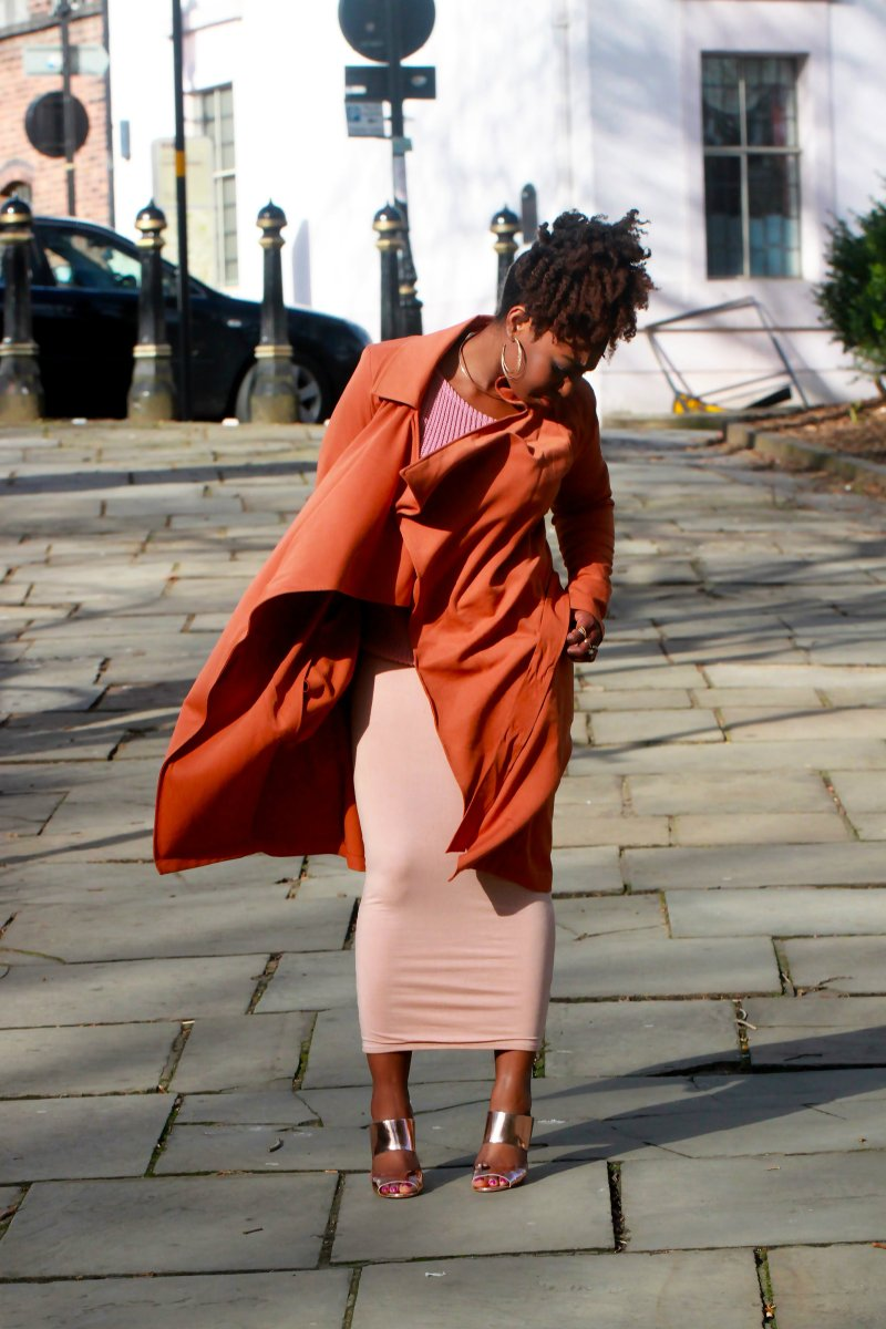 mauve jumper terracotta orange duster coat a