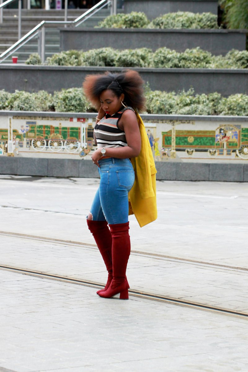 yellow coat denim outfit otk new look red boots a