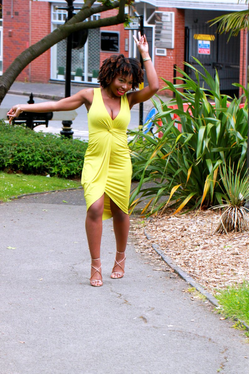 chartreuse dress asos office gold heels a