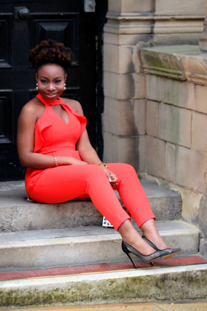 red orange frill jumpsuit a