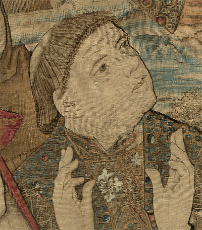 Flemish, 15th century, The Mazarin Tapestry. National Gallery of Art, Washington  A high-resolution photograph shows individual gold threads as well as the subtle gradations of tone that define the face.