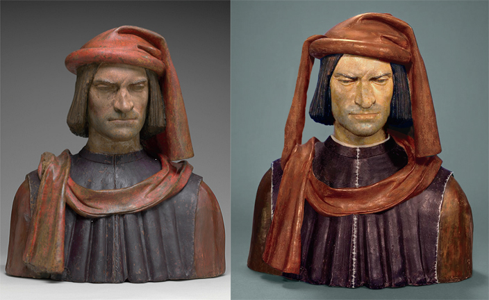 (left) Lorenzo de' Medici, Florentine, painted terracotta, National Gallery of Art, Washington, Samuel H. Kress Collection, after treatment.  (right) Computer-generated virtual reconstruction of probable original appearance showing complete costume and the proposed original colors
