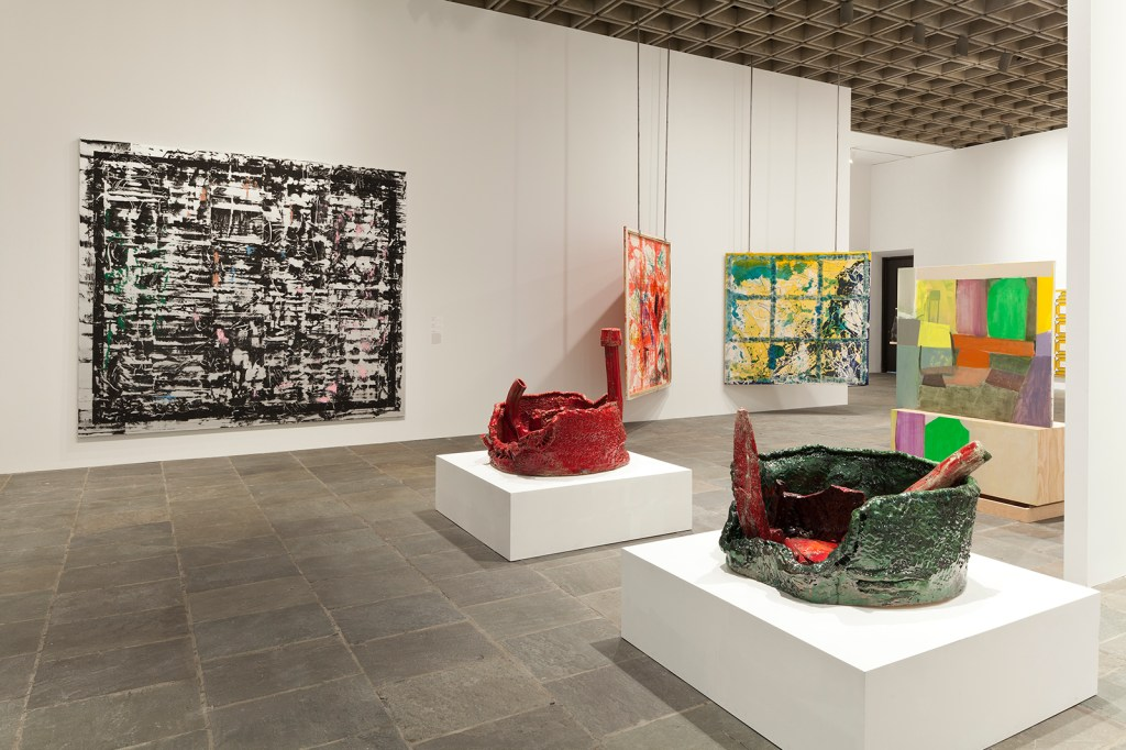 Installation view Whitney  Biennial 2014 ( March 7 – May 25, 2014), fourth floor.  Whitney Museum of American Art,  New York.   Photograph by Sheldan C. Collins  Left to right: Jacqueline Humphries, Sterling Ruby, Dona Nelson, Pam Lins and Amy Sillman