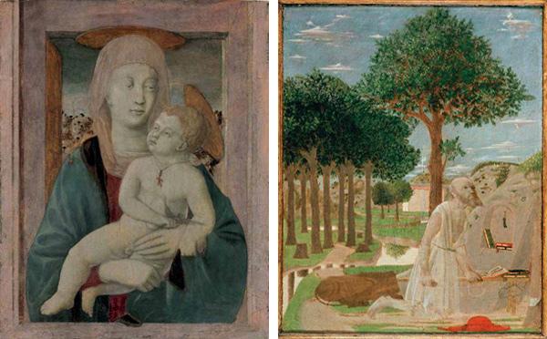 Left: Piero della Francesca (Italian, ca. 1412–1492). Madonna and Child, ca. 1439–40. Tempera on panel; 20 7/8 x 15 3/4 in. ( 53 x 40 cm). Alana Collection, Delaware. Right: Piero della Francesca (Italian, ca. 1412–1492). Saint Jerome in the Wilderness, 1450. Tempera on wood (chestnut); 20 1/8 x 15 in. ( 51 x 38 cm). Gemäldegalerie, Staatliche Museen zu Berlin