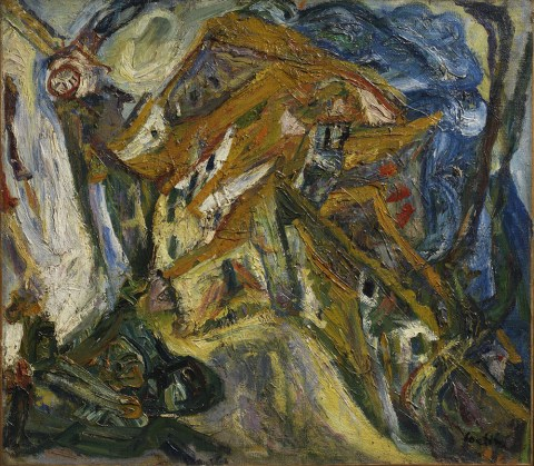 Chaïm Soutine (Russian, active in France, 1893–1943), View of Céret, ca. 1921–22. Oil on canvas, 74 x 85.7 cm. The Henry and Rose Pearlman Foundation, on long-term loan to the Princeton University Art Museum