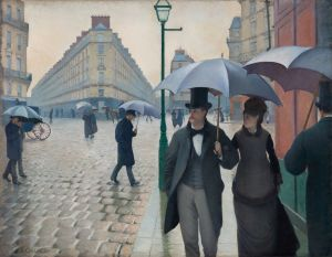 Gustave Caillebotte, Paris Street, Rainy Day, 1877; oil on canvas; overall: 212.2 276.2 cm (83 9/16 108 3/4 in.); The Art Institute of Chicago, Charles H. and Mary F. S. Worcester Collection