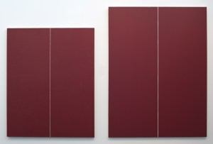Left, Be I (first version), 1949 oil; right, Be I (second version), 1970, acrylic. (Studio photo, not in installation).