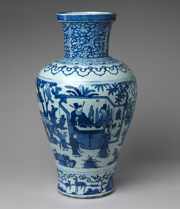 This vase featuring a romanticized scene of a poet in nature would have captivated European patrons with its depiction of far-off places and use of unfamiliar imagery. Jar with poet Zhou Dunyi, dated 1587. Ming dynasty (1368–1644), Wanli mark and period (1573–1620). China. Porcelain painted with cobalt blue under transparent glaze (Jingdezhen ware); H. 23 3/4 in. (60.3 cm); Diam. 12 7/8 in. (32.7 cm); Diam. of rim 7 5/8 in. (19.4 cm); Diam. of base 7 7/8 in. (20 cm). The Metropolitan Museum of Art, New York, Rogers Fund, 1920 (20.41.2)