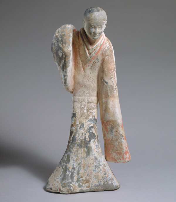 This dancing figure was made for a Han dynasty tomb, likely for an elite patron. Ceramic models were often included in burials as they were thought to provide the deceased with all of the luxuries they had in life. Female dancer, 2nd century B.C. Western Han dynasty (206 B.C.–A.D. 9). China. Earthenware with pigment; H. 21 in. (53.3 cm); W. 9 3/4 in. (24.8 cm); D. 7 in. (17.8 cm). The Metropolitan Museum of Art, New York, Charlotte C. and John C. Weber Collection, Gift of Charlotte C. and John C. Weber, 1992 (1992.165.19)