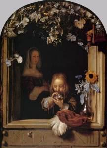 Mieris_I,_Frans_van_-_Boy_Blowing_Bubbles_-_17th_century