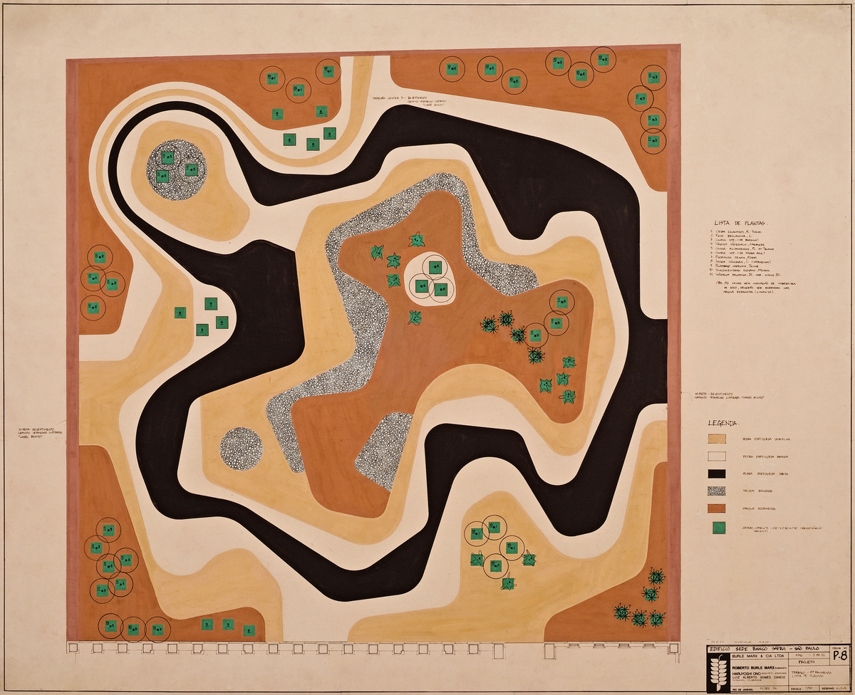 Roberto Burle Marx (Brazilian, 1909–1994), design for a mineral roof garden, Banco Safra headquarters, São Paulo, 1983, gouache on paper, 31 ¾ x 39 ¼ in. (80.6 x 99.7 cm). Burle Marx & Cia. Ltda., Rio de Janeiro. © Burle Marx Landscape Design Studio, Rio de Janeiro. Reproduced with permission. All rights reserved. Photograph by Cesar Barreto.