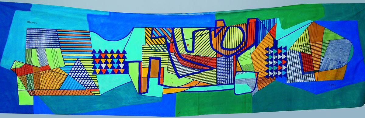 Roberto Burle Marx (Brazilian, 1909–1994), tablecloth, 1989, acrylic on cotton, 63 x 217 ½ in. (160 x 552 cm). Sítio Roberto Burle Marx, Rio de Janeiro. Image provided by Sítio Roberto Burle Marx, Rio de Janeiro.