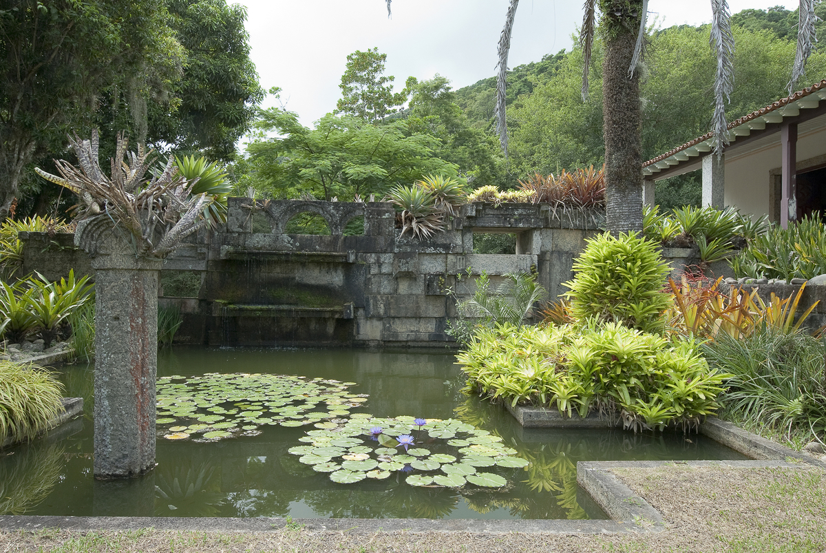 Gardens of the Sítio Roberto Burle Marx, Rio de Janeiro, with stonework erected in the late 1970s using repurposed blocks from demolished buildings. Photograph © Malcolm Raggett.