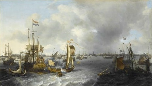 Ludolf Bakhuizen, View of Amsterdam with Ships in Harbour, 1666 (oil on canvas, 128 x 221 cm). Paris, Louvre