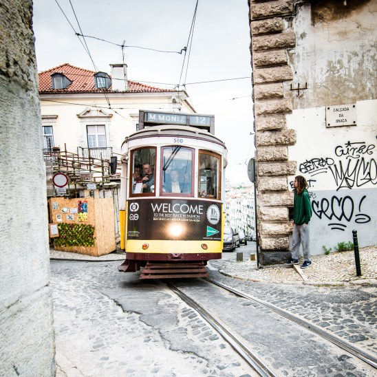 The world famous eléctrico (tram) uphill in Lisbon