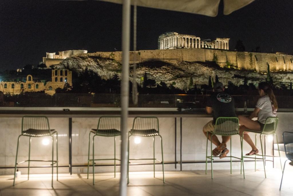 Big Athens acropolis by night