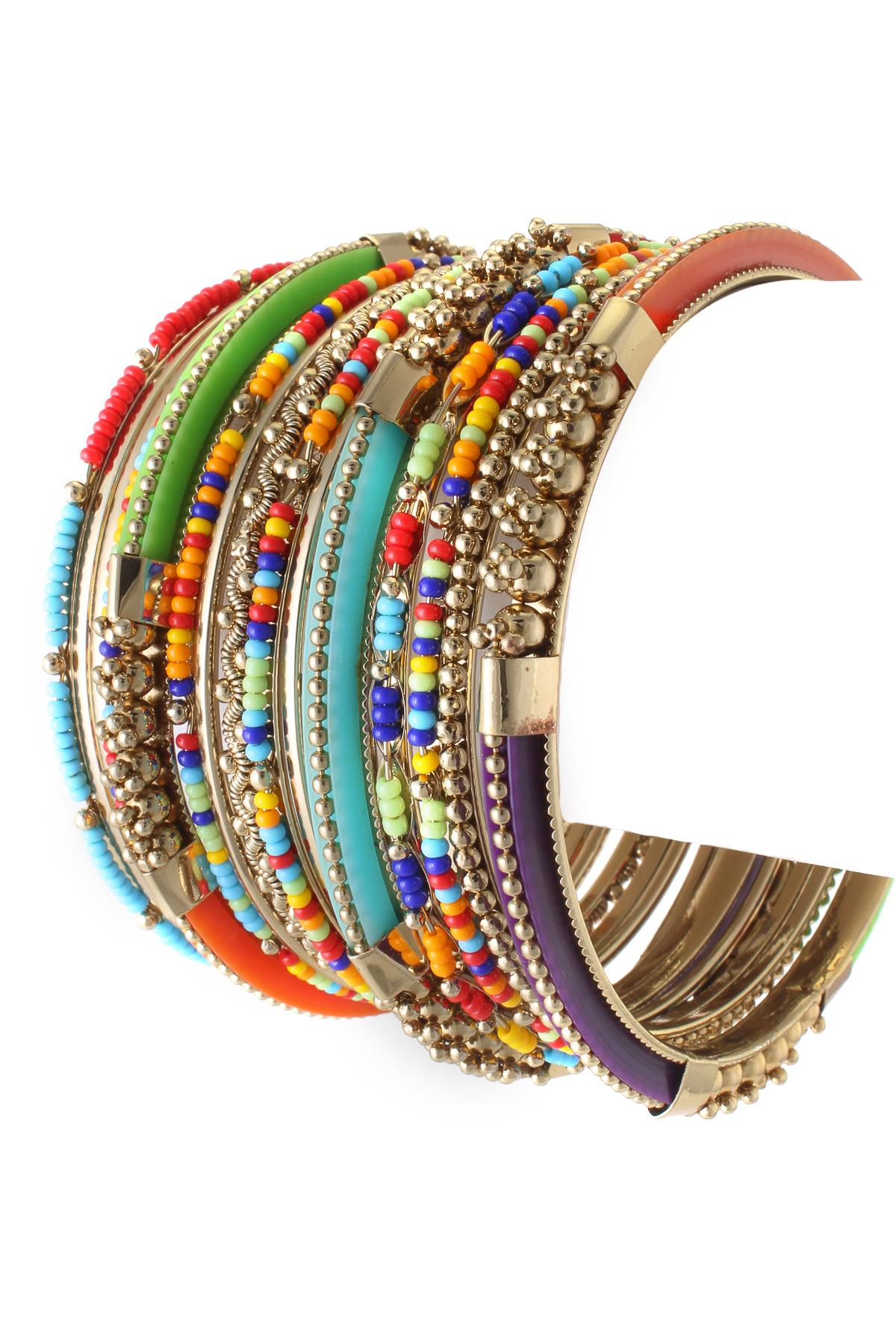 Seed Bead Multi Bangle Bracelet Set  Bracelets
