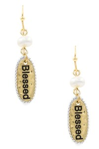 'BLESSED' Engraved Drop earrings