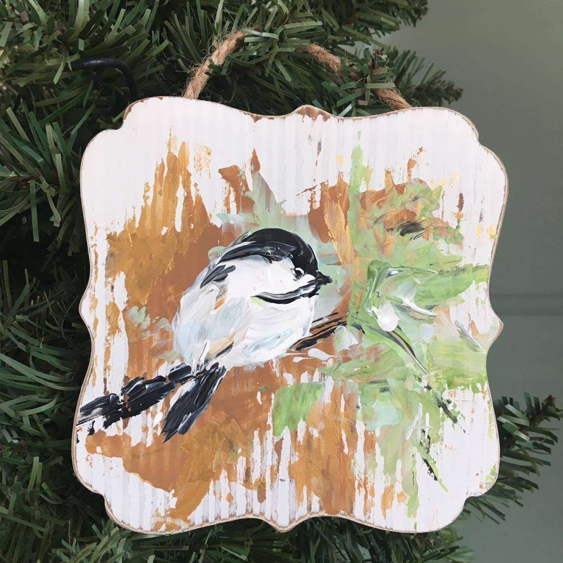 Get this one of a kind chickadee ornament exclusively at The Little Bluebird Gallery | Art by Amanda Hilburn #chickadee #bird #ornament