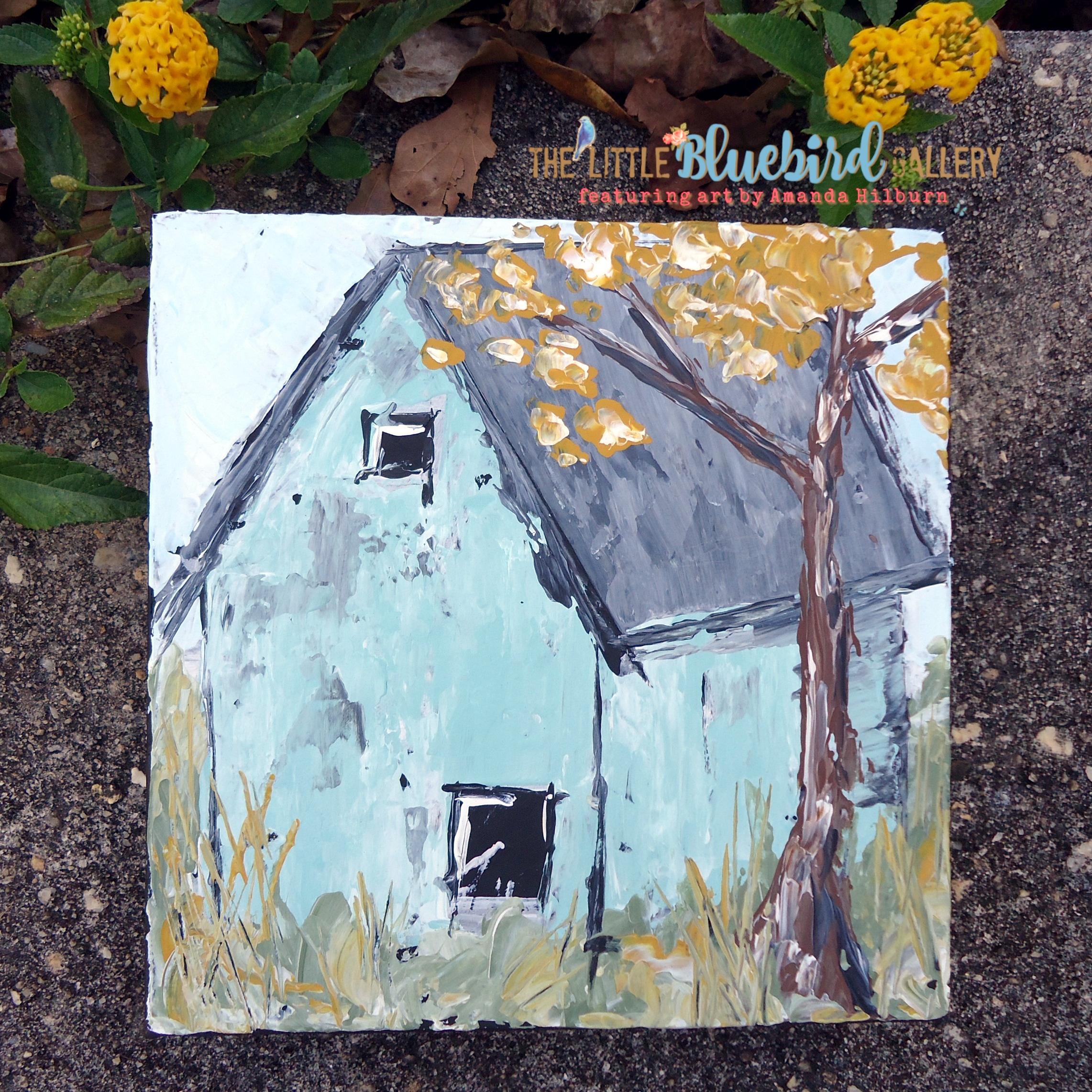 Fall Barn is an original acrylic painting by Amanda Hilburn. Get this one of a kind artwork at The Little Bluebird Gallery | Art by Amanda Hilburn #barn #turquoisebarn #farmhouse