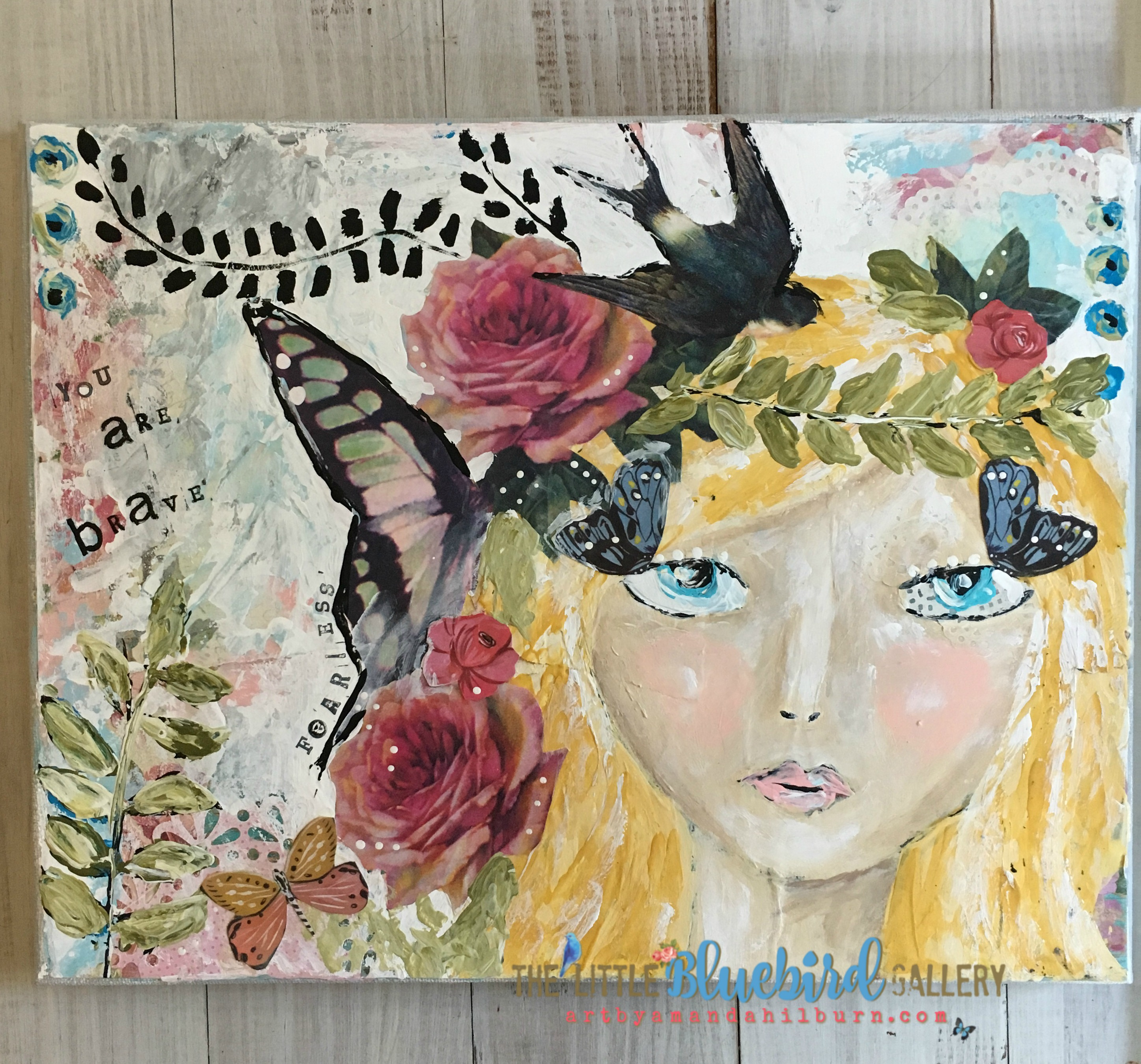 Fearless Fairy; Original Mixed Media Painting