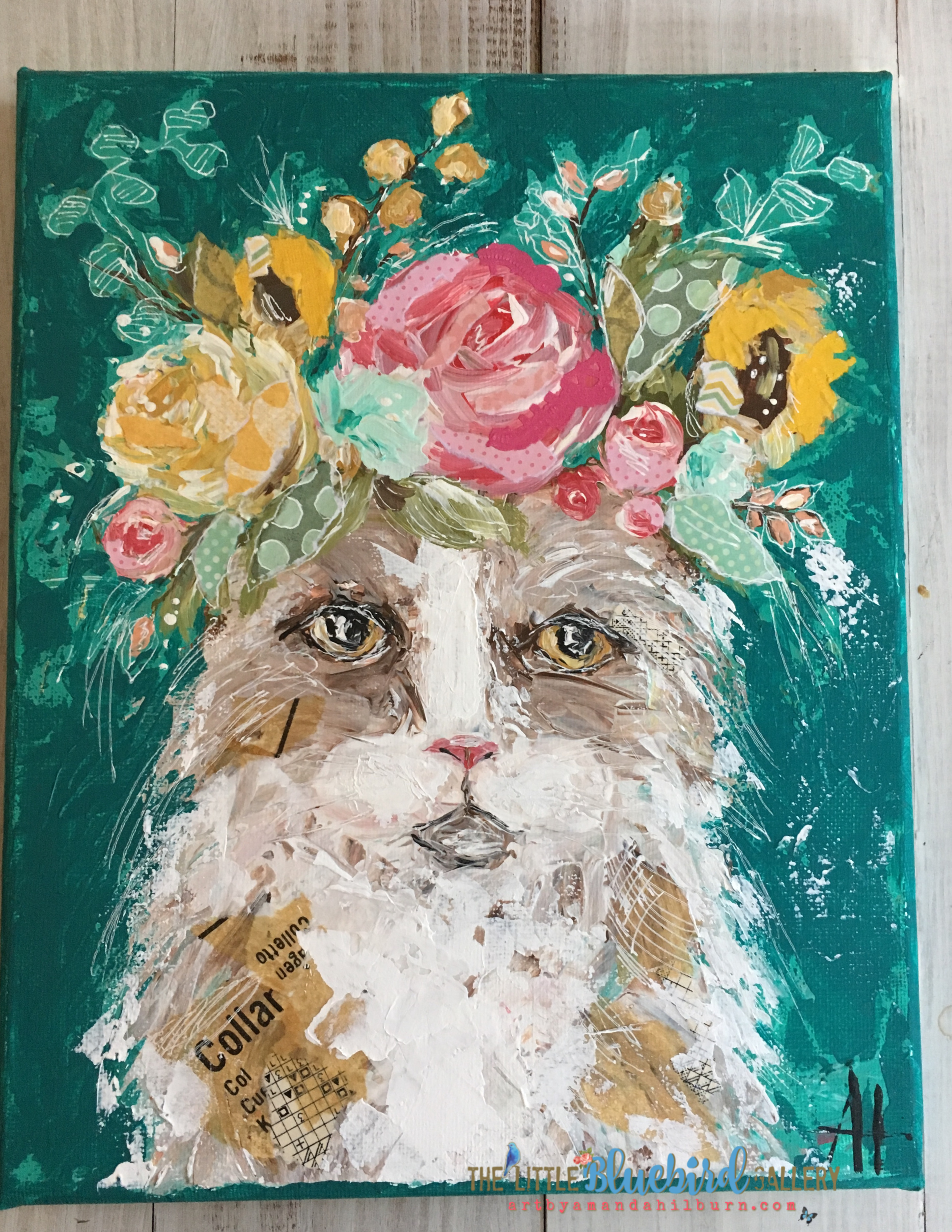 Flora the Cat; Original Mixed Media Painting