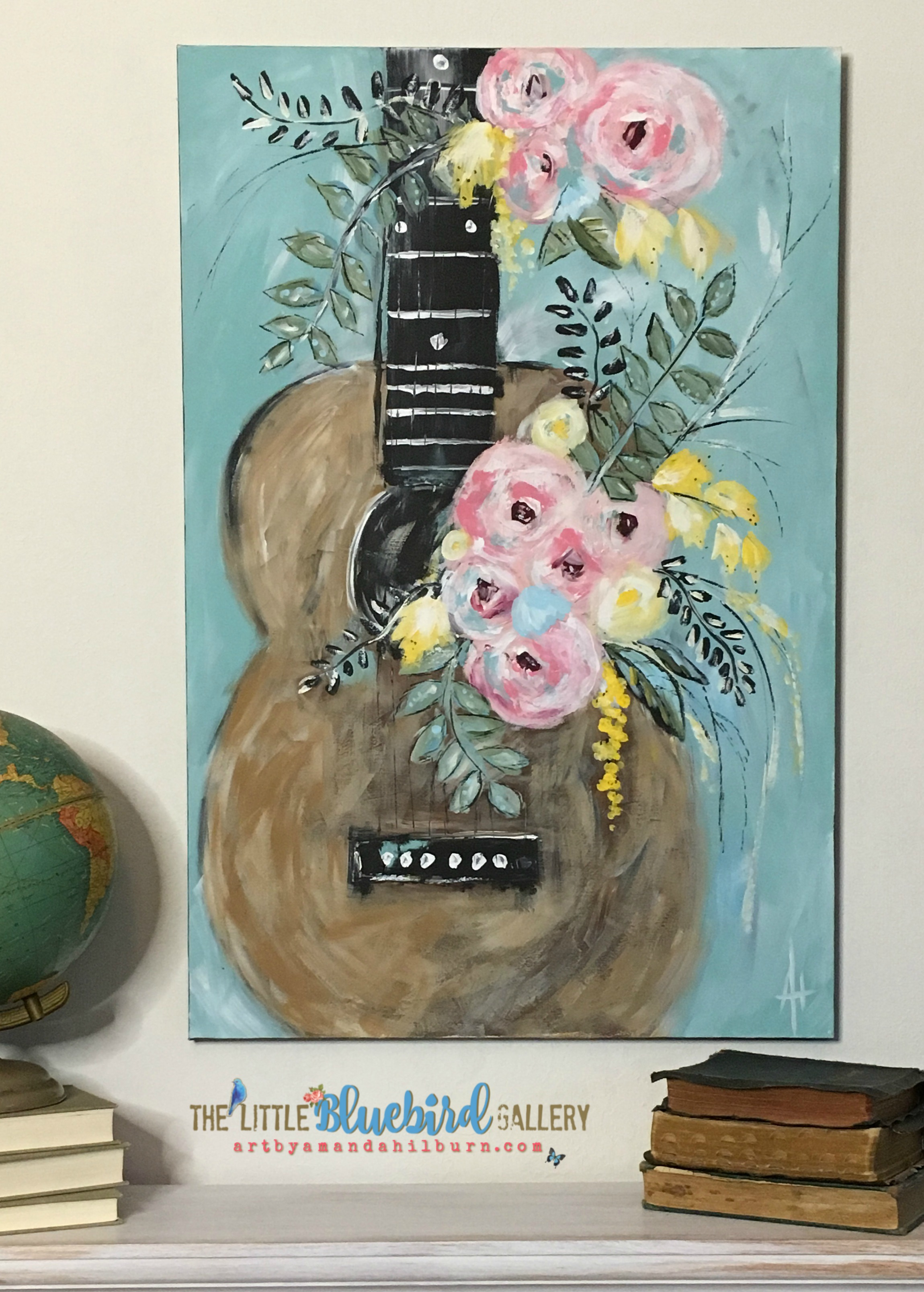 Whimsical Guitar; Original Acrylic Painting