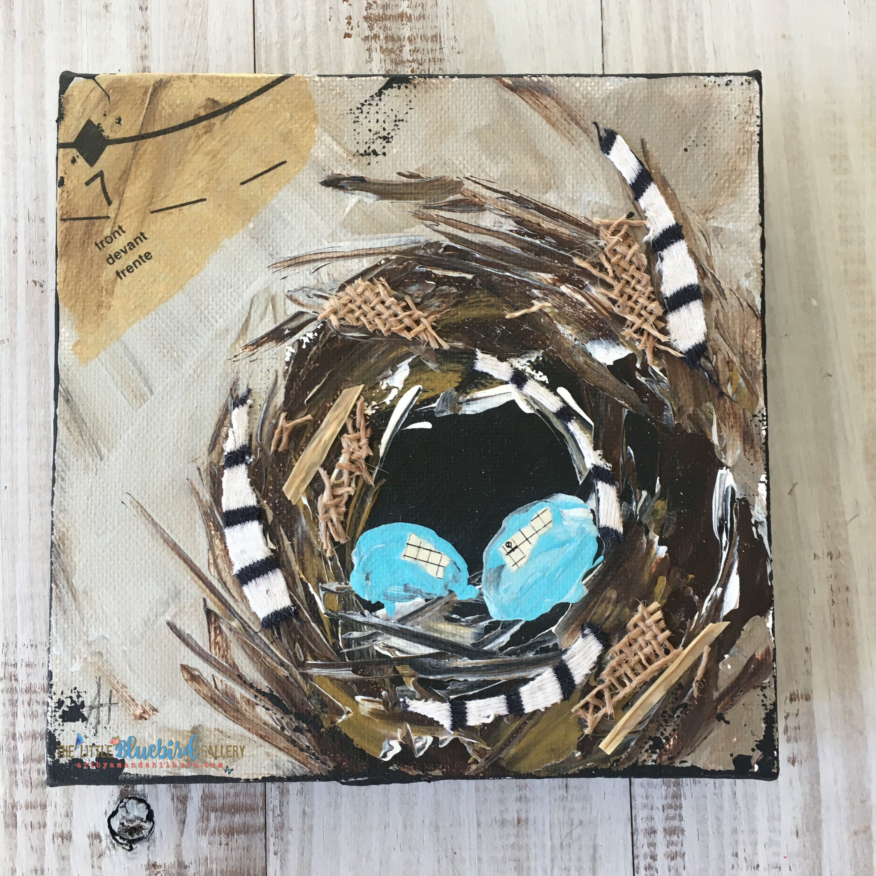 Feathered Nest; Original Mixed Media Painting