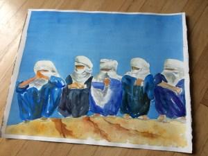 Blue men of Africa in watercolor