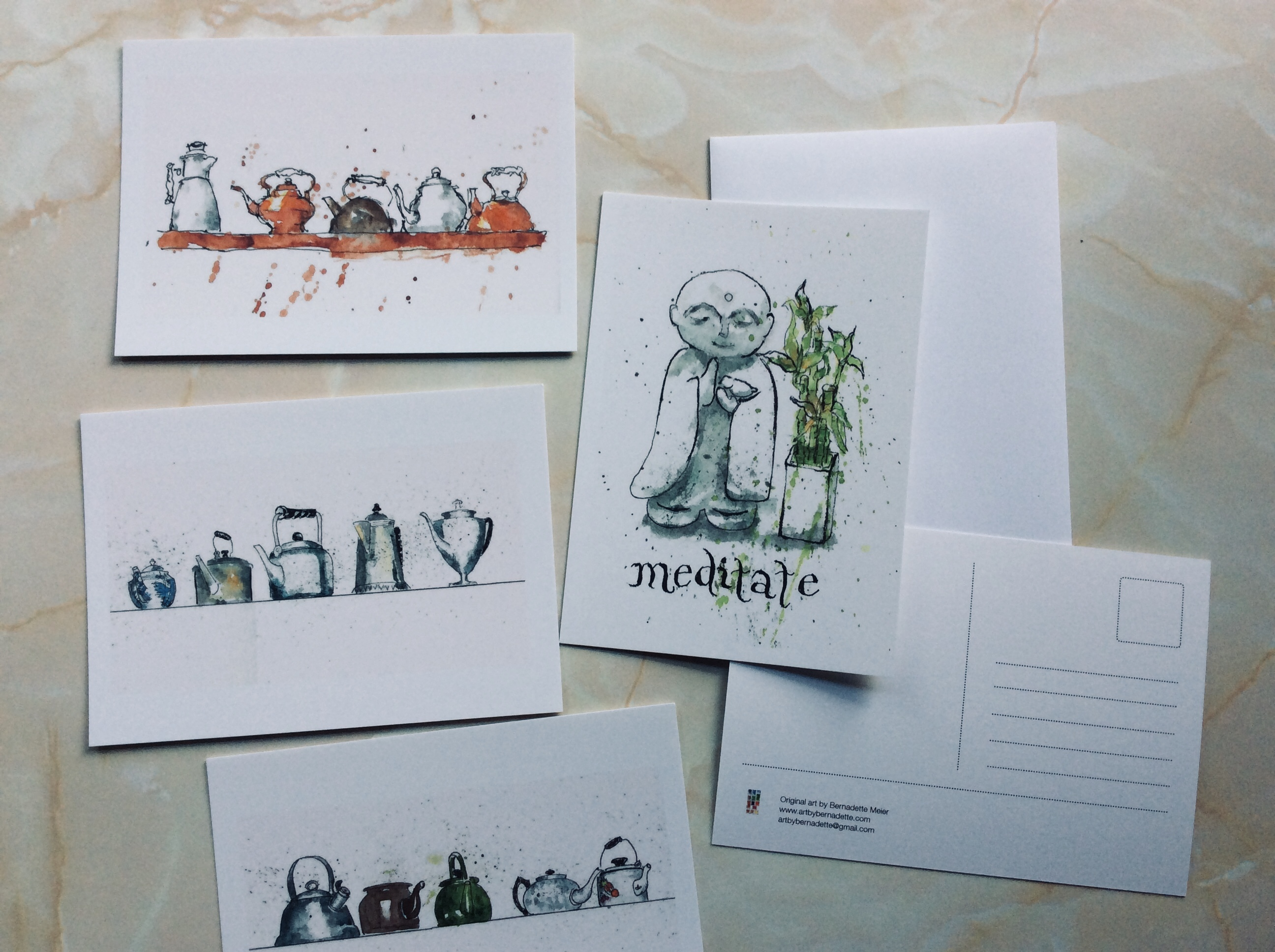 Coffee and tea and meditate postcards