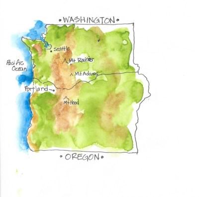 Map Oregon & Washington
