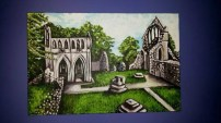Dry borough Abbey, acrylic on canvas this was commissioned as a wedding present for a couple who got married there