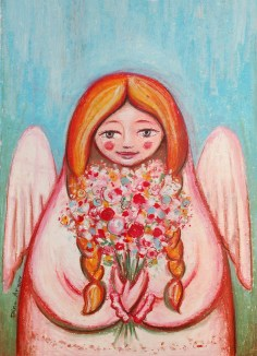 MAtryoshka angel with flowers 13 18
