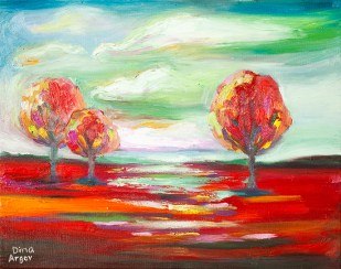 Landscape in reds and greens :: Price $100