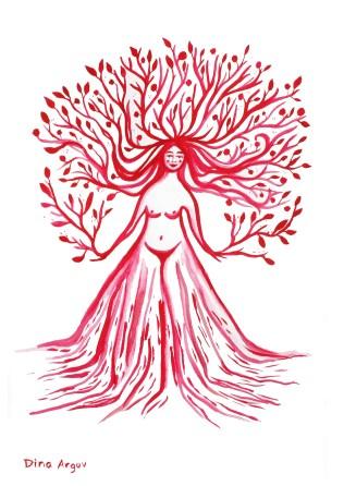 Red tree woman 25$ A4 Print