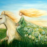 Woman On A Horse Original Big Painting Art By Dina Argov
