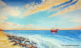 Seascape In Loving Memory of David Mars. Artist: Jacqueline Hammond. Dimensions: 1.2m x 2m. Medium: Oils