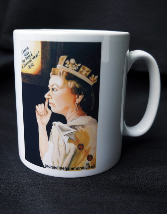 Queens Jubilee Mug by British artist Jacqueline Hammond as discusses on BBC Radio Sussex