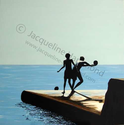 What a Catch - painting by Jacqueline Hammond 100x100cm Acrylics