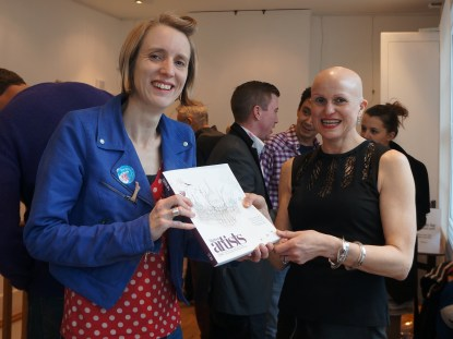 Artist Jacqueline Hammond with Alison Krog of Brighton's Arty Magazine, being presented with her copy of 'Brighton's Artists 2014' in which she is a featured artist. Get your copy of the book at www.artymagazines.com