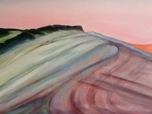 Painting in progress - new landscape series by artist Jacqueline Hammond